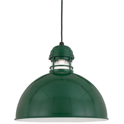 """18"""" shade with clear ribbed glass in 95 Dark Green finish with CB8 mounting"""