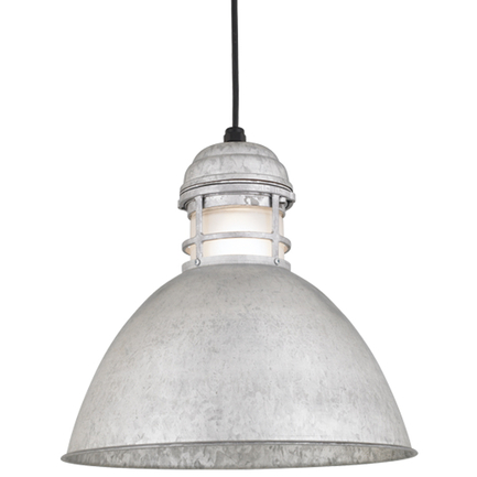 """16"""" shade with frost glass in 96 Galvanized finish with CB8 mounting"""