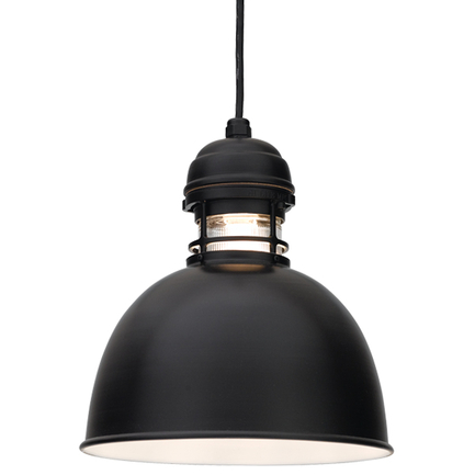 """12"""" shade and clear ribbed glass in 91 Black finish with CB8 mounting"""