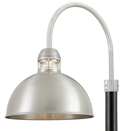 """18"""" shade with clear glass and P-1 post arm in 101 Brushed Aluminum finish, 3"""" smooth pole in 91 Bla"""
