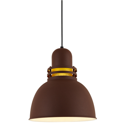 """14"""" shade with amber crackle glass in BR47 Powder Coat Rust finish with CB8 mounting"""