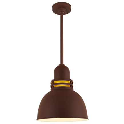 """14"""" RLM shade with amber crackle glass, ST2 and HSC in BR47 powder coat rust finish"""