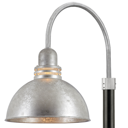 """24"""" shade with clear ribbed glass and P-1 post arm in 96 Galvanized finish, 3"""" smooth pole in 91 Bla"""