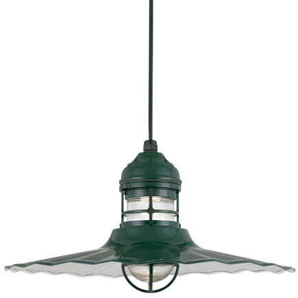 """24"""" shade with frost glass in 95 Dark Green finish with CB8 mounting"""