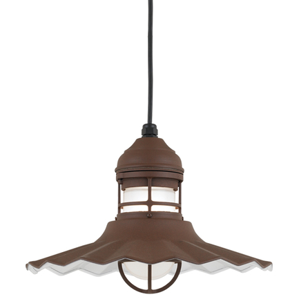 """14"""" shade with frost glass in BR47 Powder Coat Rust finish with CB8 mounting"""