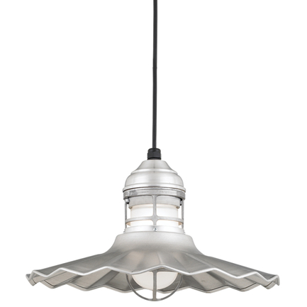 """16"""" shade with frost glass in 102 Raw Aluminum finish with CB8 mounting"""