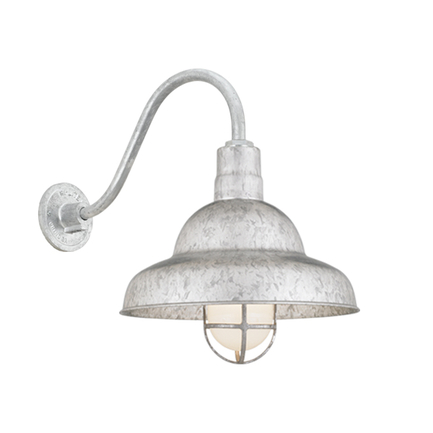 """16"""" shade with B-1 gooseneck arm and CGU accessory with frost glass in 96 Galvanized finish"""