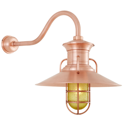 """20"""" shade, CGU accessory with frost glass, HL-A gooseneck arm and DCC accessory in 48 Raw Copper fin"""