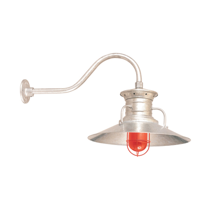 """18"""" shade with HL-D gooseneck arm in 96 Galvanized finish, CGU accessory with red glass in 97 Red fi"""