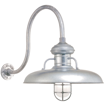 """18"""" shade, CGU accessory with frost glass, HL-D gooseneck arm in 96 Galvanized finish"""