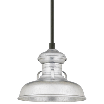 """6"""" shade in 96 Galvanized finish with 1/8"""" stem in 91 Black finish"""