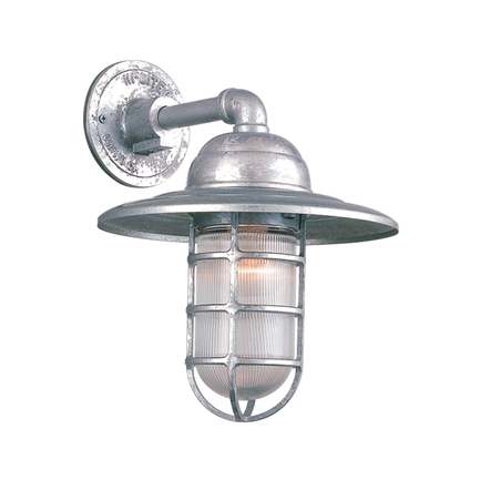 """10"""" shade with clear ribbed glass in 96 galvanized"""