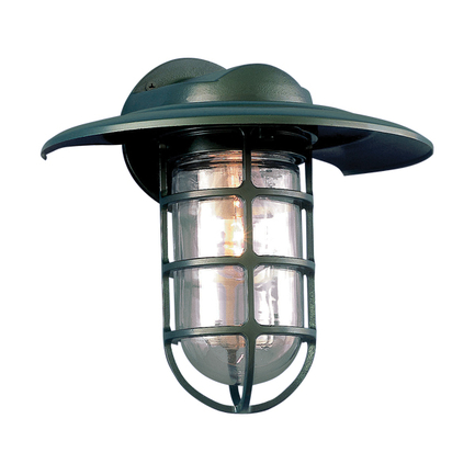 """10"""" shade with clear glass in 29 french green"""