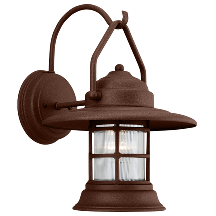 Mini fixture with clear ribbed glass in BR47 powder coat rust finish