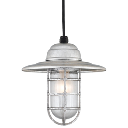 """10"""" shade in 96 galvanized finish w/ frost glass, 8 ft. black cord w/ 91 black canopy"""