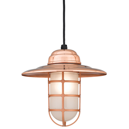"""14"""" shade in 44 polished copper finish w/ frost glass, 8 ft. black cord w/ 91 black canopy"""