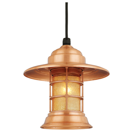 """10"""" shade in 24 satin copper with amber crackle glass, 8 ft cord with 91 black canopy"""
