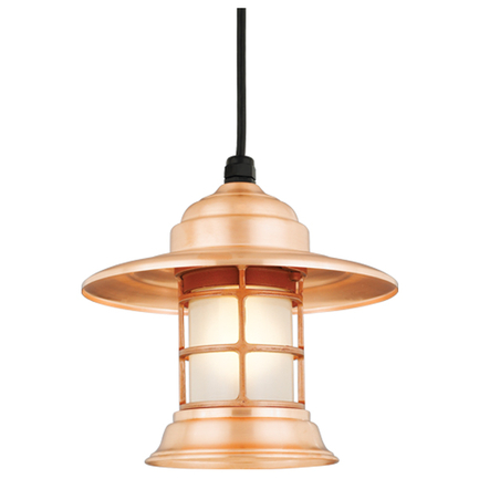 Mini fixture in 48 raw copper with frost glass, 8 ft cord with 91 black canopy