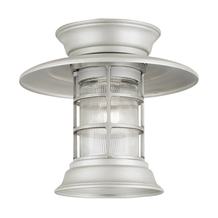 """10"""" shade with clear ribbed glass in 101 brushed aluminum"""