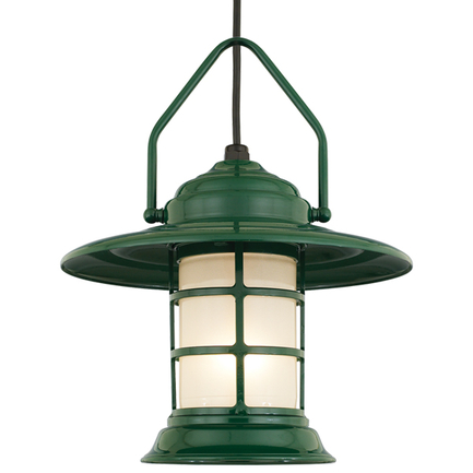 """13"""" shade with frost glass in 95 dark green, 8 ft. black cord and 91 black canopy"""