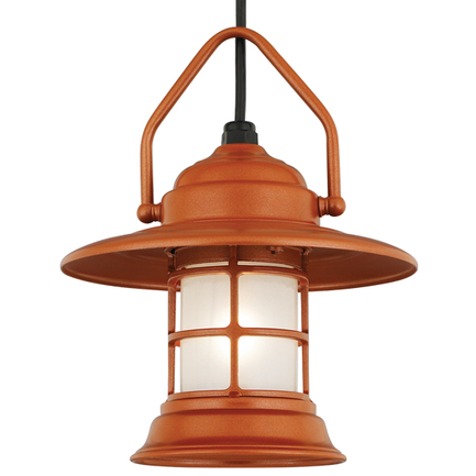 Mini fixture with frost glass in 113 metallic copper, 8 ft. black cord with 91 black canopy