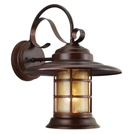 Large fixture in 77 rosewood finish with amber crackle glass