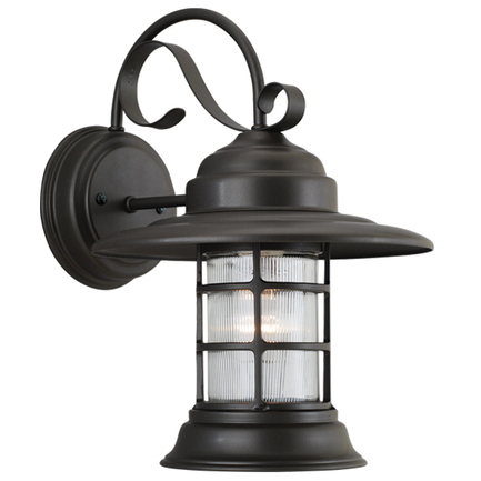 Small fixture with clear ribbed glass in 119 bronze finish