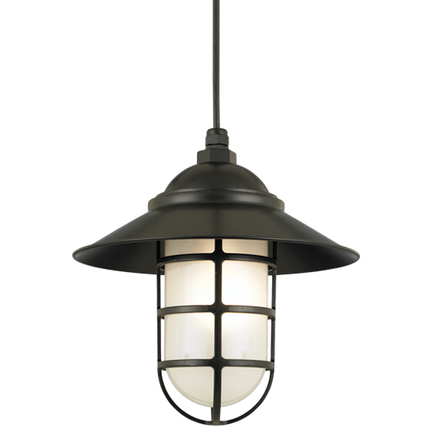 """12"""" shade in 91 Black finish with frost glass and CB8 mounting"""
