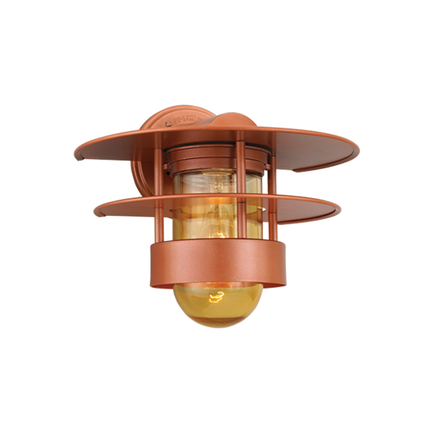 """12"""" shade with amber glass in 113 metallic copper finish"""
