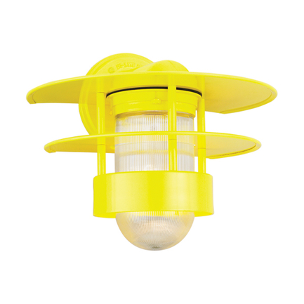 """14"""" shade with clear ribbed glass in 92 yellow finish"""