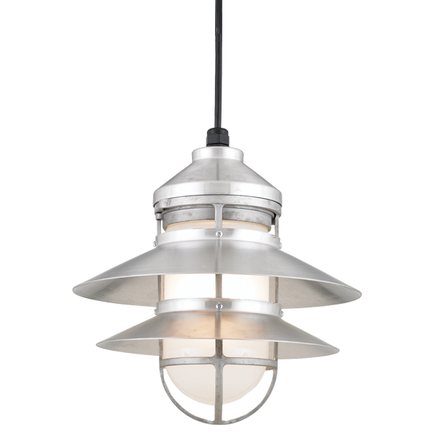 """12"""" shade in 102 Raw Aluminum finish with frost glass and CB8 mounting"""
