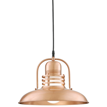 """14"""" shade with frost glass in 24 satin copper, 8 ft. black cord with 91 black canopy"""