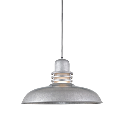 """24"""" shade with frost glass in 96 galvanized finish, 8 ft. black cord with 91 black canopy"""