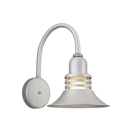 """14"""" shade with frost glass and B-12 arm in 101 brushed aluminum finish"""