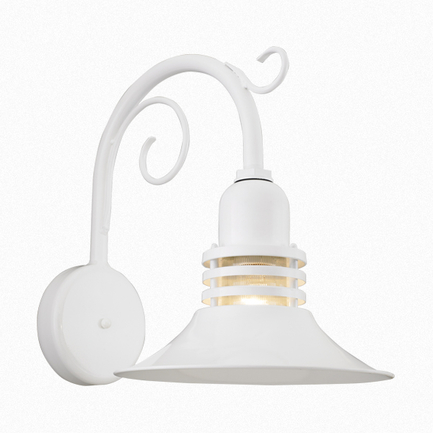 """16"""" shade with clear ribbed glass and B-11 arm in 93 white finish"""