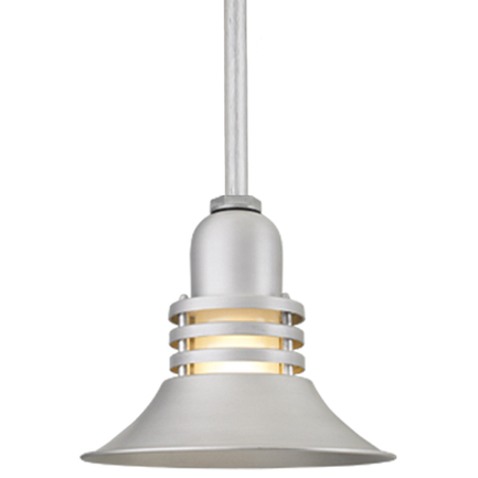 """14"""" shade with frost glass and ST2 in 101 brushed aluminum finish"""