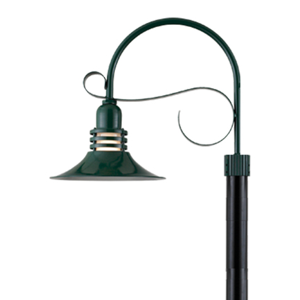 """16"""" shade with frost glass and P-6 arm in 95 dark green finish"""
