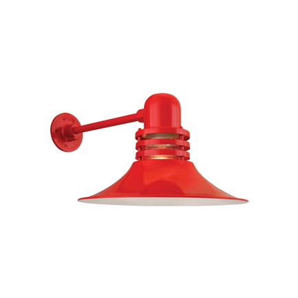 """16"""" shade with clear ribbed glass in 97 red finish"""
