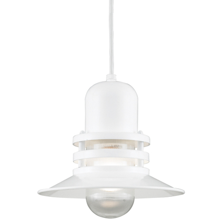 """10"""" shade with clear ribbed glass in 93 white finish, 8 ft. black cord with 91 black canopy"""