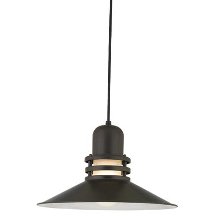 """16"""" shade with frost glass in 119 bronze finish, 8 ft. black cord with 91 black canopy"""