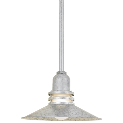 """18"""" shade with frost glass in 96 galvanized finish, 8 ft. black cord with 91 black canopy"""