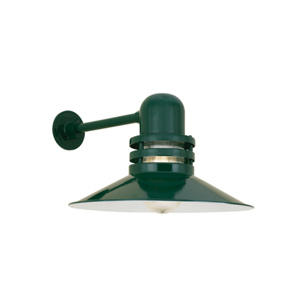 """18"""" shade with clear ribbed glass in 95 dark green finish"""