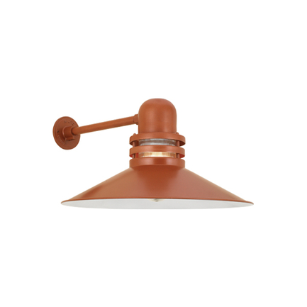 """22"""" shade with clear ribbed glass in 113 metallic copper finish"""