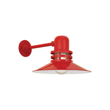 """14"""" shade with clear ribbed glass in 97 red finish"""