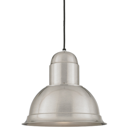 """16"""" shade in 11 satin steel, 8 ft. cord with 91 black canopy"""