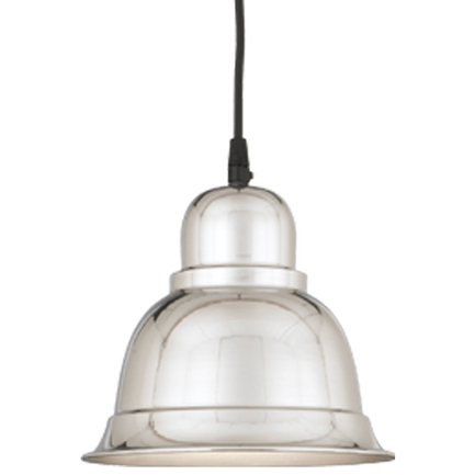 """8"""" shade in 98 polished aluminum, 8 ft. black cord with 91 black canopy"""