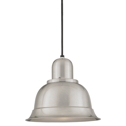 """12"""" shade in 11 satin steel, 8 ft. black cord with 91 black canopy"""