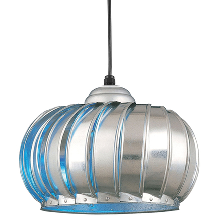 """19"""" fixture with CGU accessory with blue glass in 96 galvanized, CB8 mounting with 91 black canopy"""