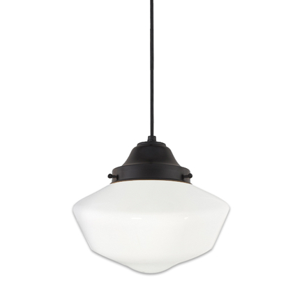 """18"""" opal globe with cap in 91 black finish, 8 foot black cord with 91 black canopy"""