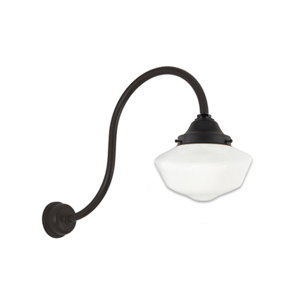 """12"""" opal globe with cap, HL-D arm and DCC in 91 black finish"""